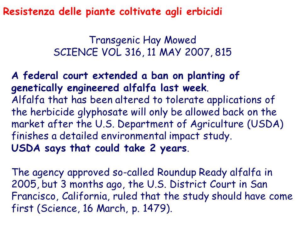 Resistenza delle piante coltivate agli erbicidi