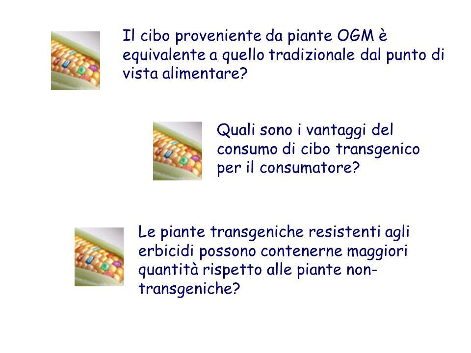 Il cibo proveniente da piante OGM è equivalente a quello tradizionale dal punto di vista alimentare