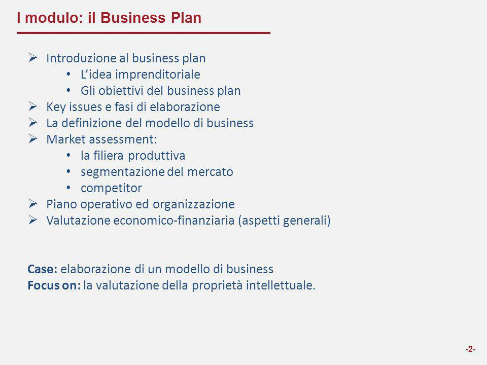 I modulo: il Business Plan