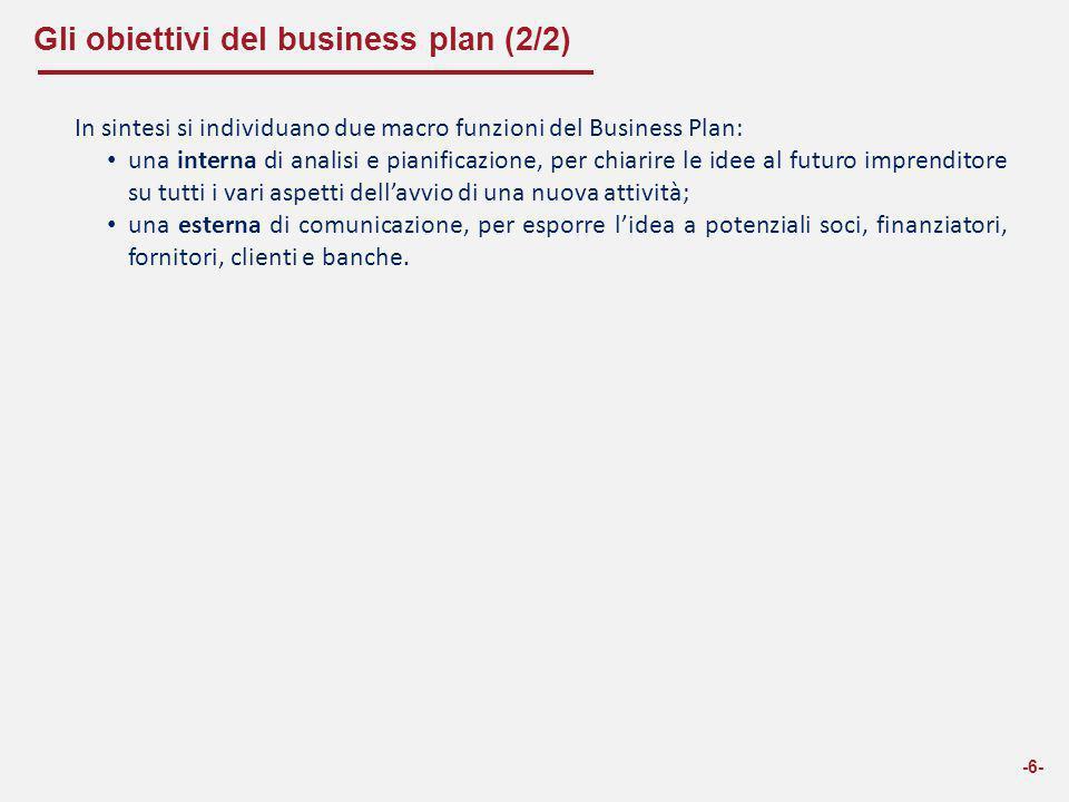 Gli obiettivi del business plan (2/2)