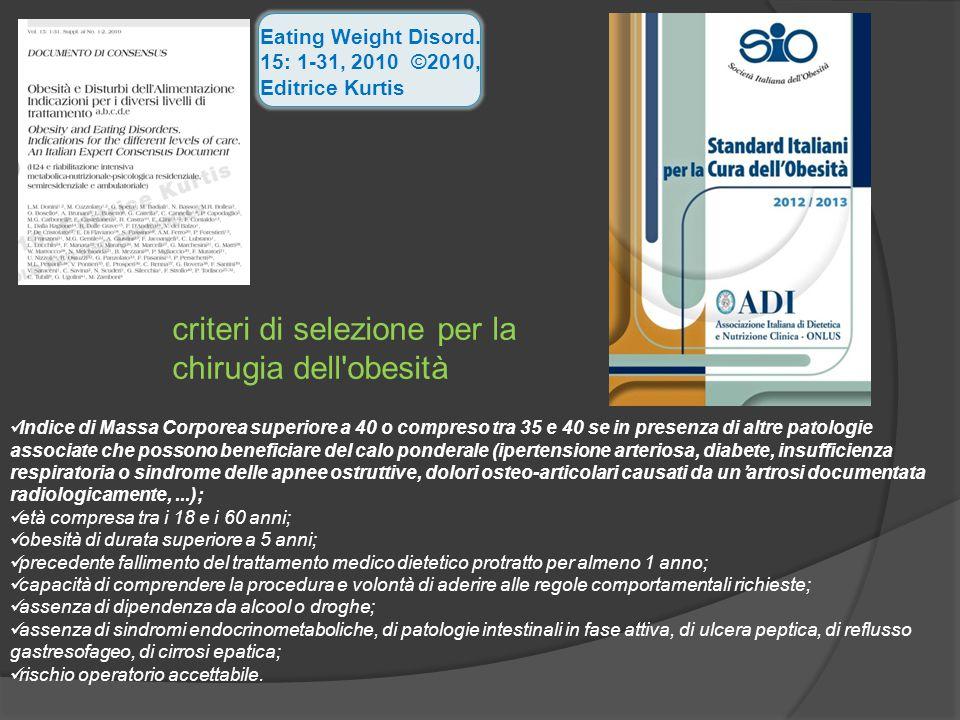 criteri di selezione per la chirugia dell obesità