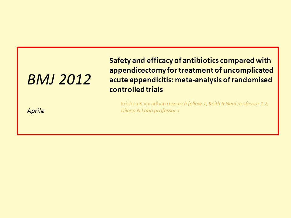 Safety and efficacy of antibiotics compared with appendicectomy for treatment of uncomplicated acute appendicitis: meta-analysis of randomised controlled trials