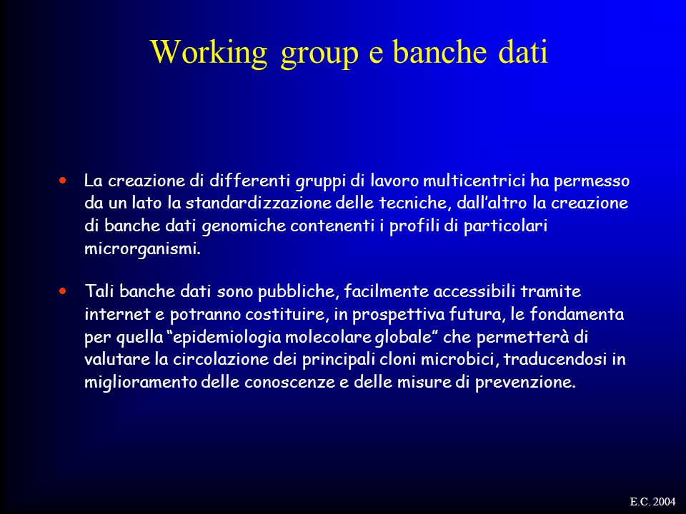 Working group e banche dati