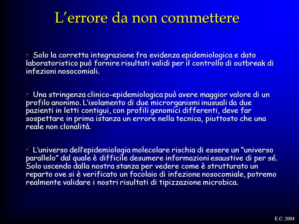 L'errore da non commettere