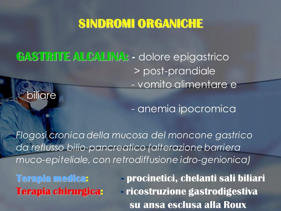 GASTRITE ALCALINA: - dolore epigastrico