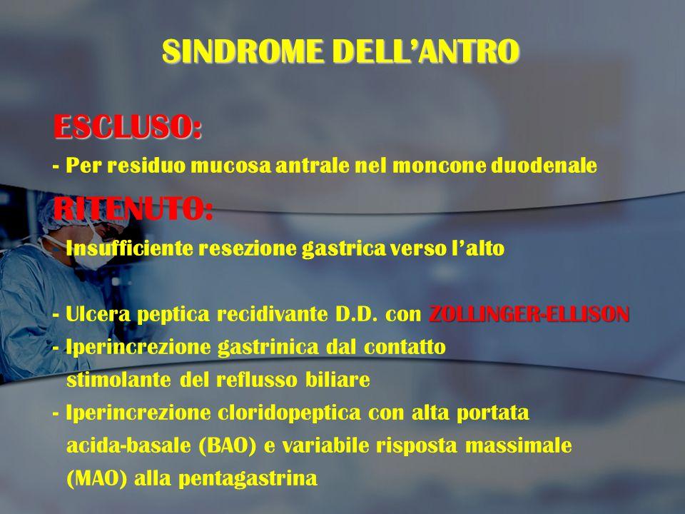 SINDROME DELL'ANTRO ESCLUSO: RITENUTO: