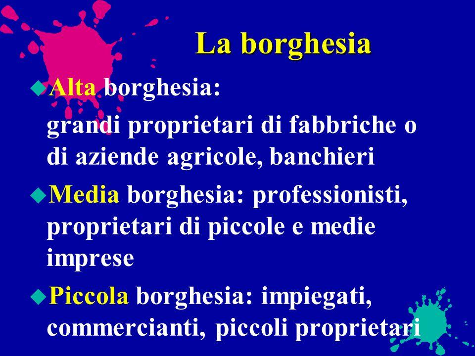 La borghesia Alta borghesia: