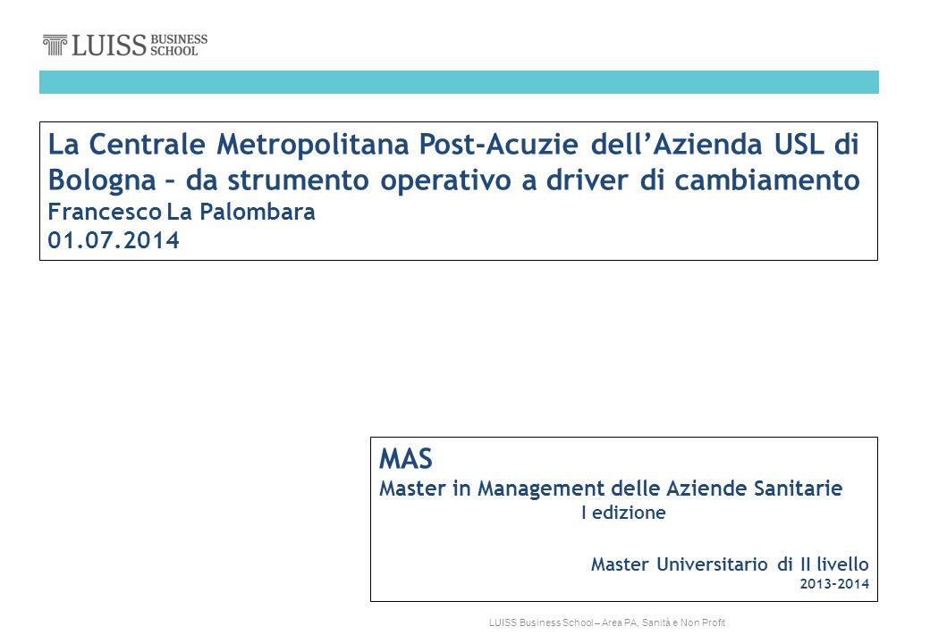 La Centrale Metropolitana Post-Acuzie dell'Azienda USL di Bologna – da strumento operativo a driver di cambiamento