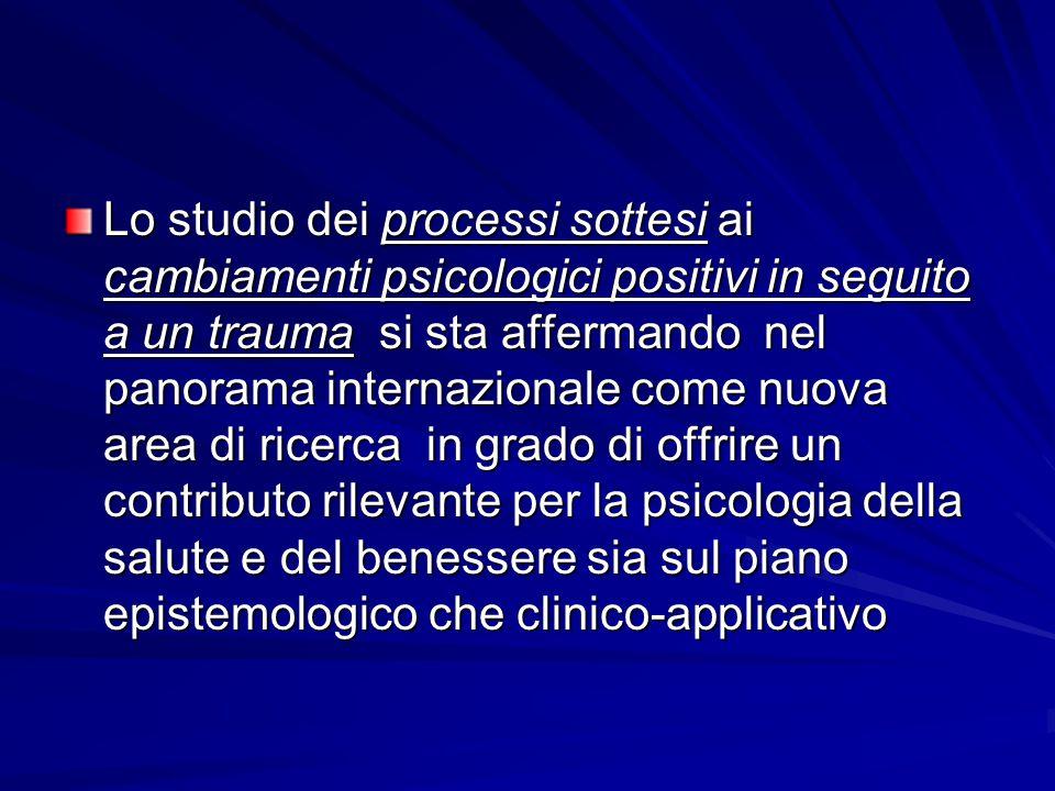 Lo studio dei processi sottesi ai cambiamenti psicologici positivi in seguito a un trauma si sta affermando nel panorama internazionale come nuova area di ricerca in grado di offrire un contributo rilevante per la psicologia della salute e del benessere sia sul piano epistemologico che clinico-applicativo