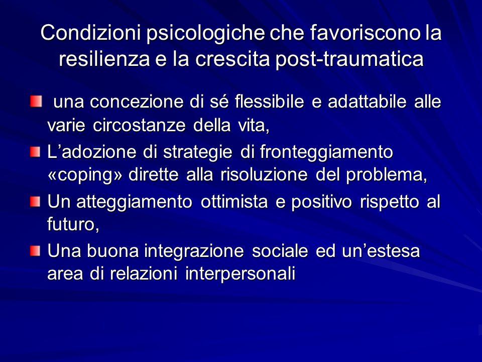 Condizioni psicologiche che favoriscono la resilienza e la crescita post-traumatica