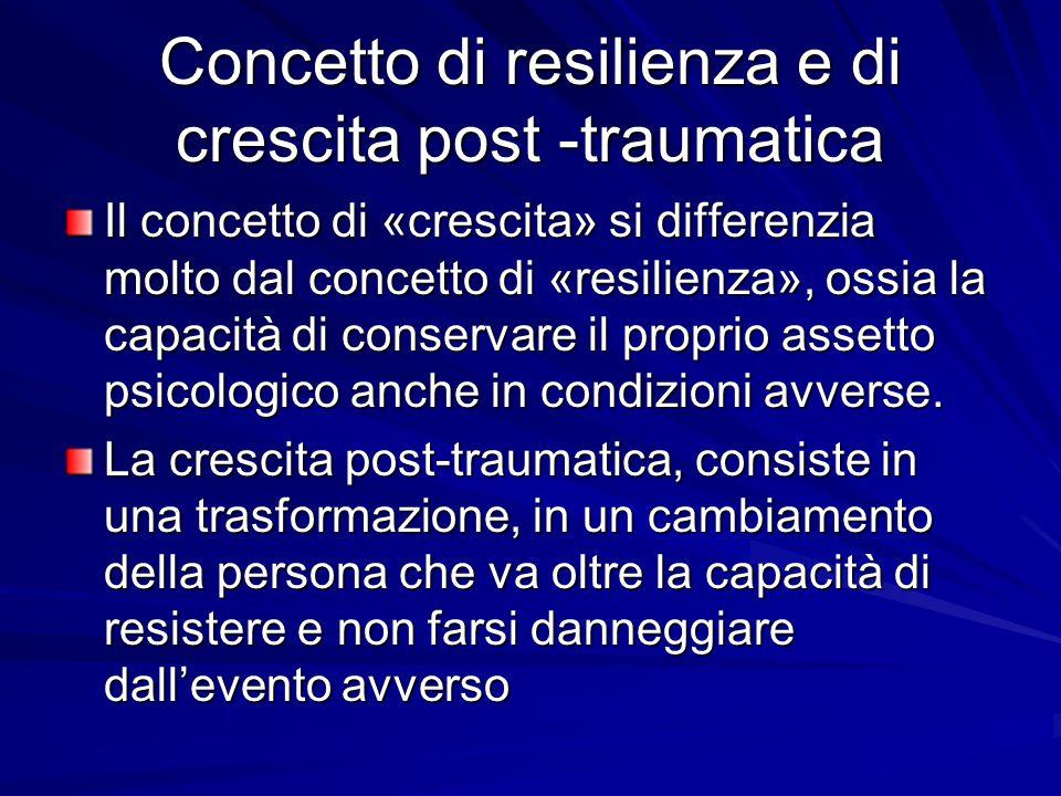 Concetto di resilienza e di crescita post -traumatica