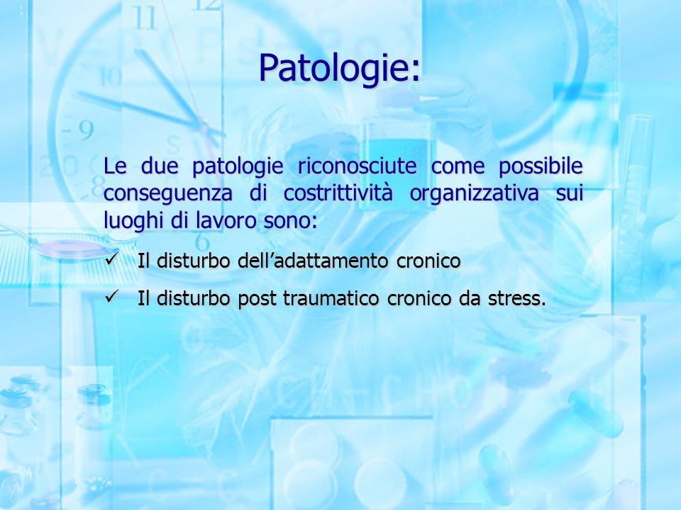 Patologie: Le due patologie riconosciute come possibile conseguenza di costrittività organizzativa sui luoghi di lavoro sono: