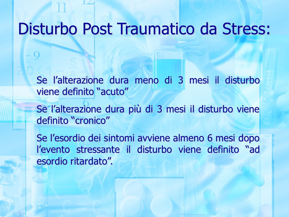 Disturbo Post Traumatico da Stress: