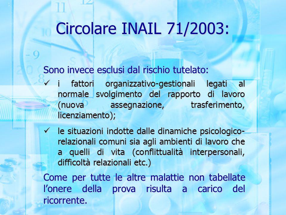 Circolare INAIL 71/2003: Sono invece esclusi dal rischio tutelato: