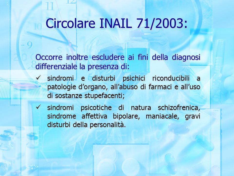 Circolare INAIL 71/2003: Occorre inoltre escludere ai fini della diagnosi differenziale la presenza di: