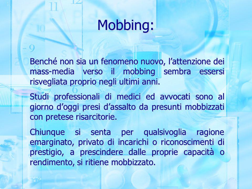 Mobbing: Benché non sia un fenomeno nuovo, l'attenzione dei mass-media verso il mobbing sembra essersi risvegliata proprio negli ultimi anni.