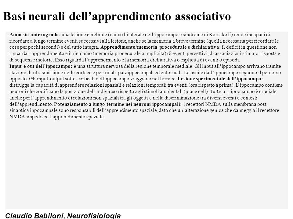 Basi neurali dell'apprendimento associativo