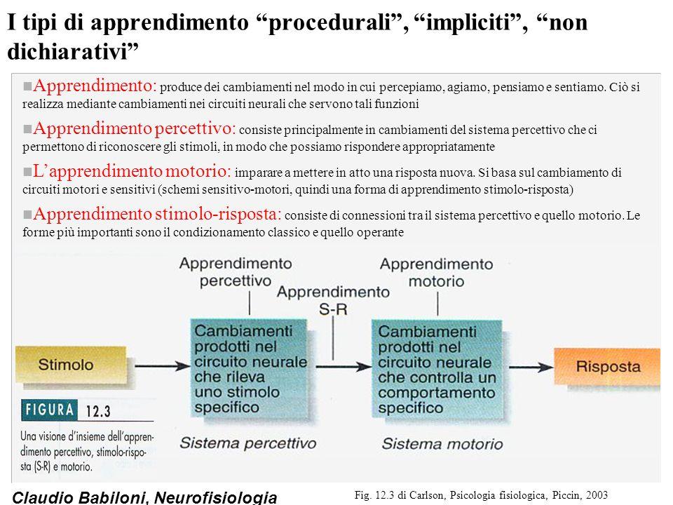 I tipi di apprendimento procedurali , impliciti , non dichiarativi