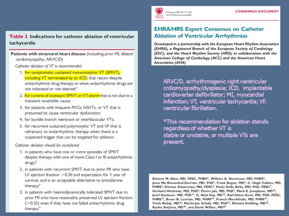 *This recommendation for ablation stands regardless of whether VT is