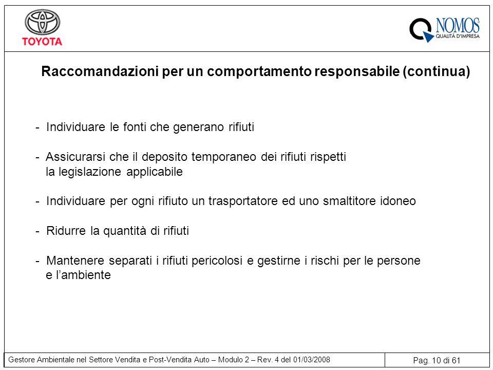 Raccomandazioni per un comportamento responsabile (continua)