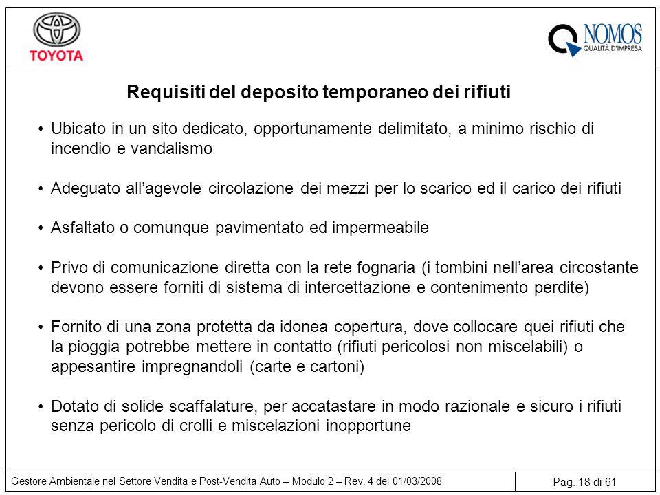 Requisiti del deposito temporaneo dei rifiuti