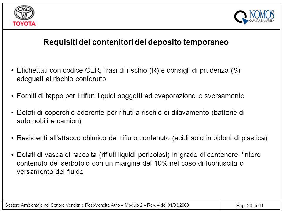 Requisiti dei contenitori del deposito temporaneo