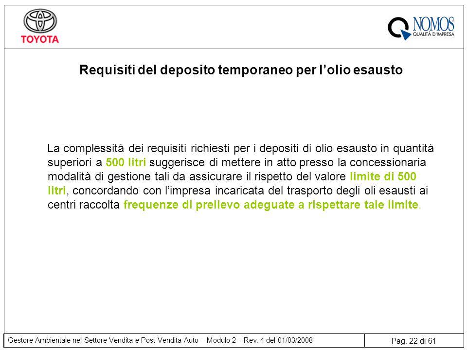 Requisiti del deposito temporaneo per l'olio esausto