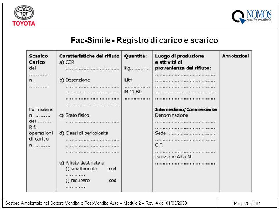 Fac-Simile - Registro di carico e scarico
