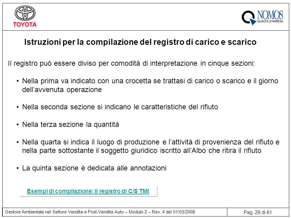 Istruzioni per la compilazione del registro di carico e scarico