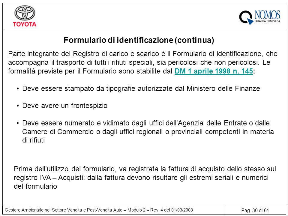 Formulario di identificazione (continua)