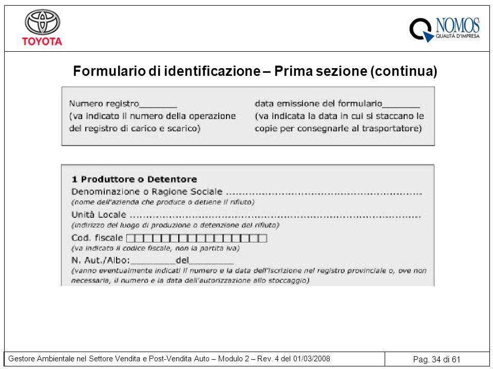 Formulario di identificazione – Prima sezione (continua)