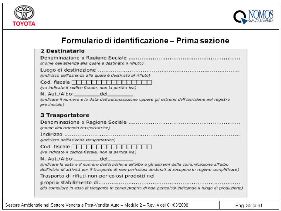Formulario di identificazione – Prima sezione
