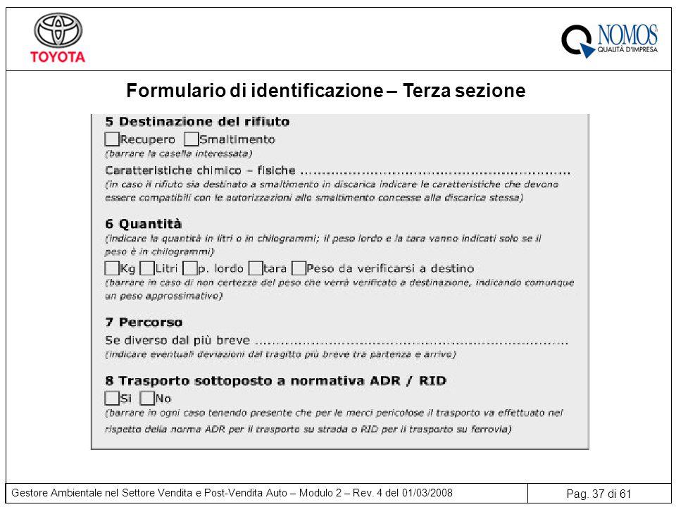 Formulario di identificazione – Terza sezione