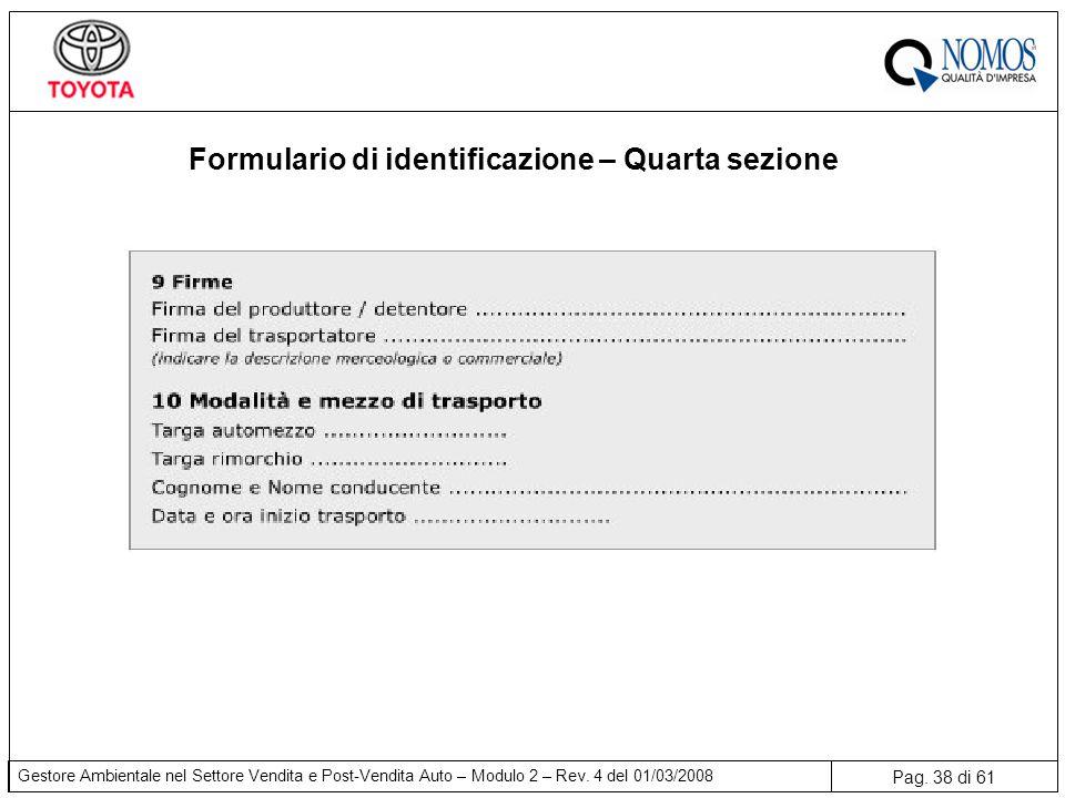 Formulario di identificazione – Quarta sezione