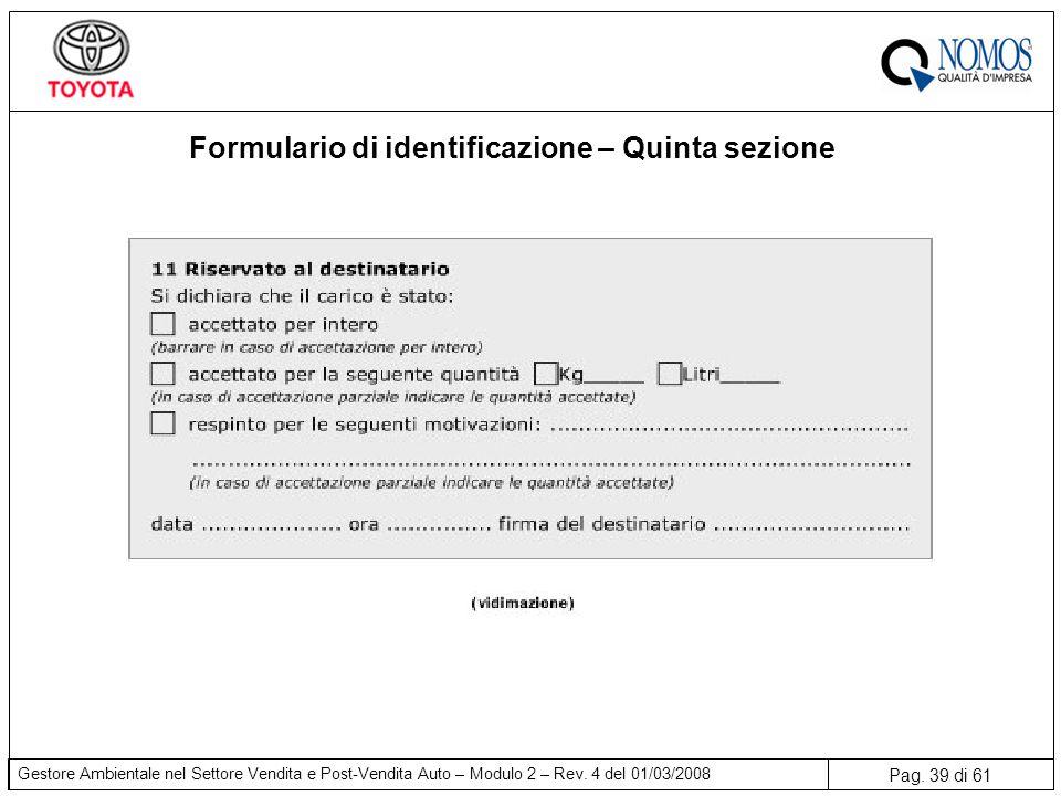 Formulario di identificazione – Quinta sezione