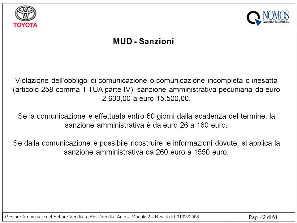 MUD - Sanzioni