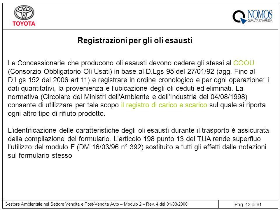 Registrazioni per gli oli esausti