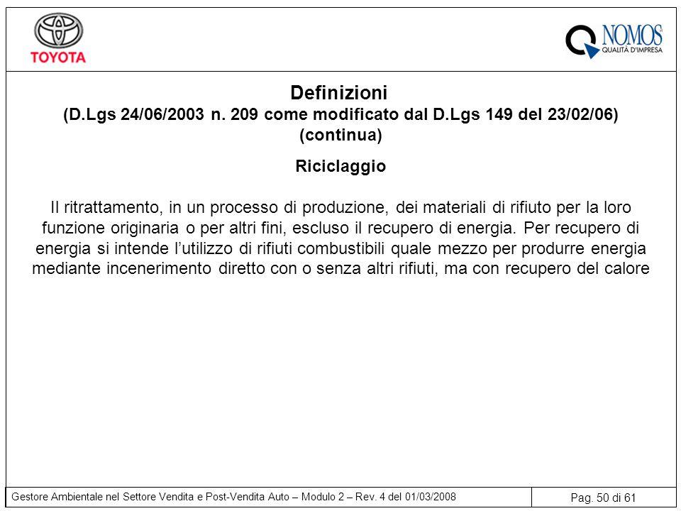 (D.Lgs 24/06/2003 n. 209 come modificato dal D.Lgs 149 del 23/02/06)