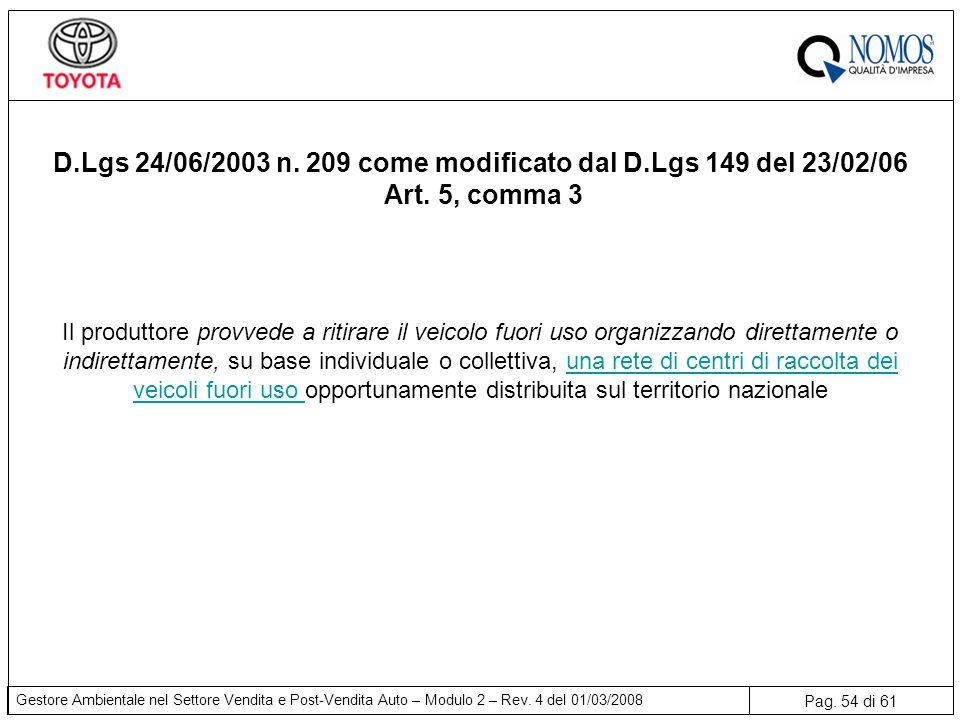 D.Lgs 24/06/2003 n. 209 come modificato dal D.Lgs 149 del 23/02/06