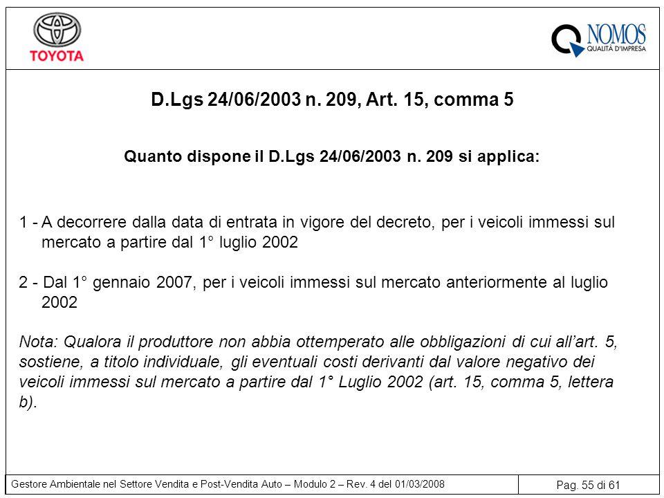 Quanto dispone il D.Lgs 24/06/2003 n. 209 si applica: