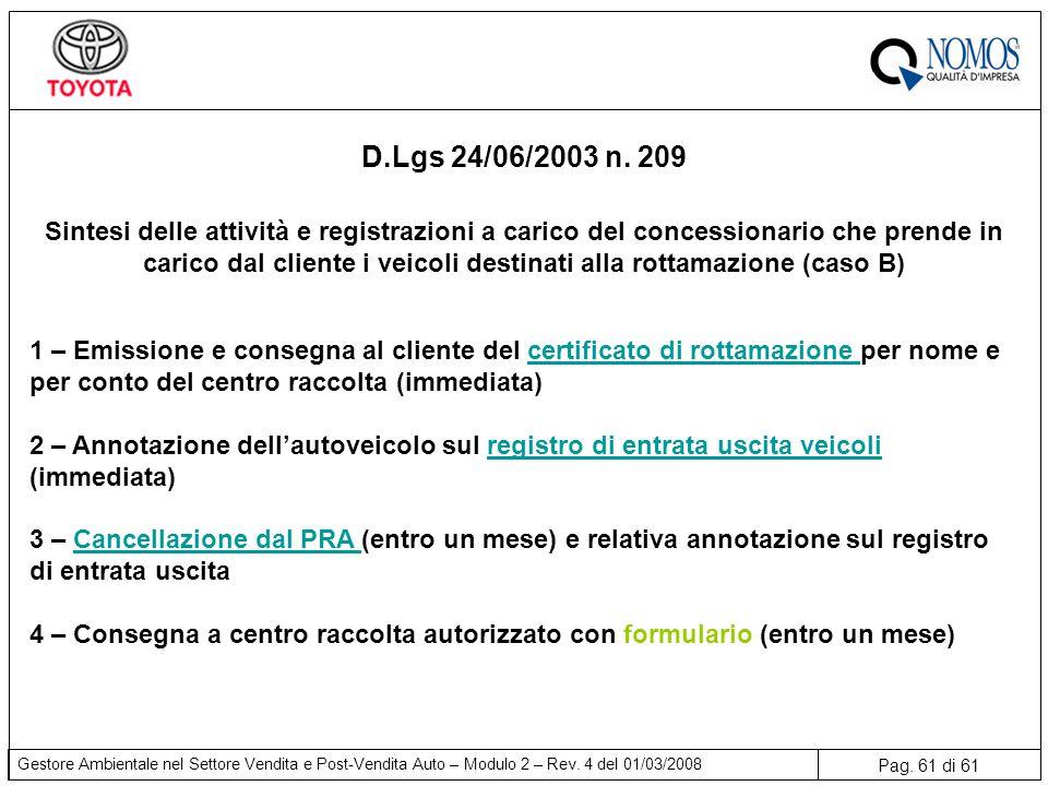 D.Lgs 24/06/2003 n. 209