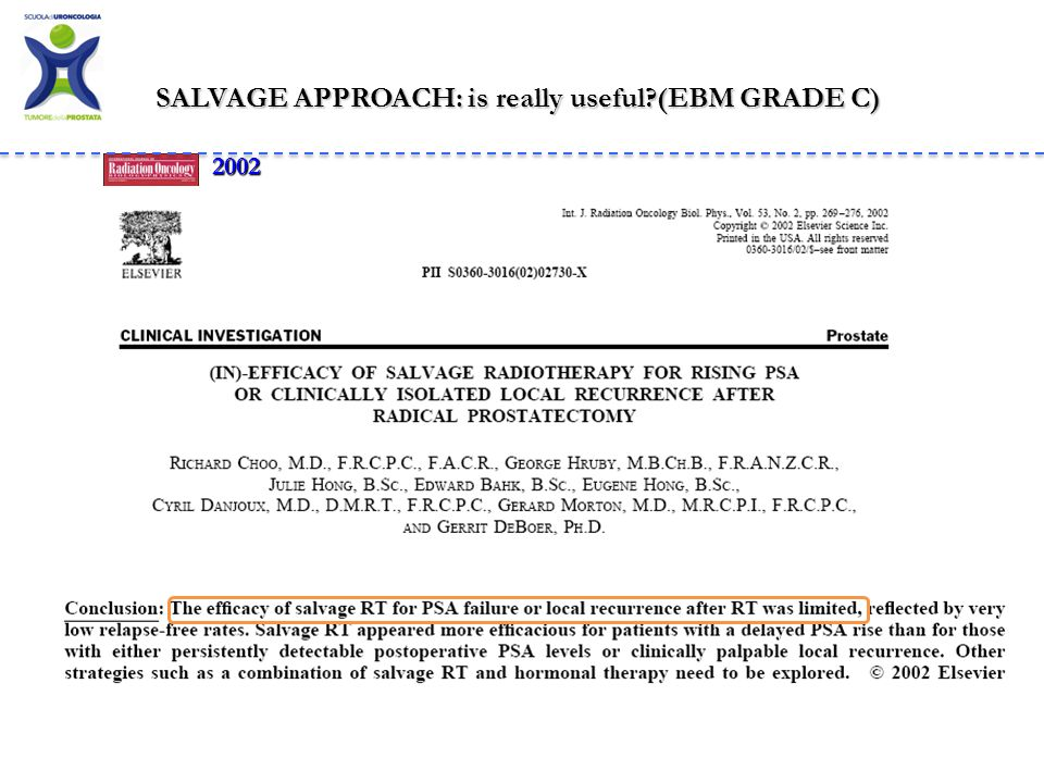 SALVAGE APPROACH: is really useful (EBM GRADE C)