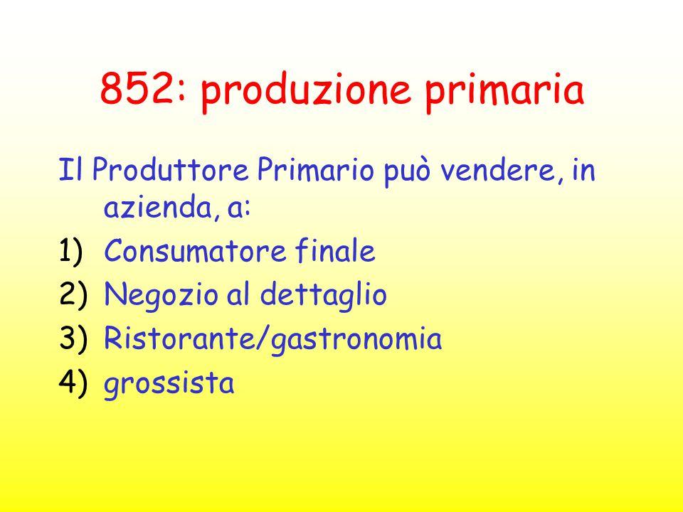 852: produzione primaria Il Produttore Primario può vendere, in azienda, a: Consumatore finale. Negozio al dettaglio.