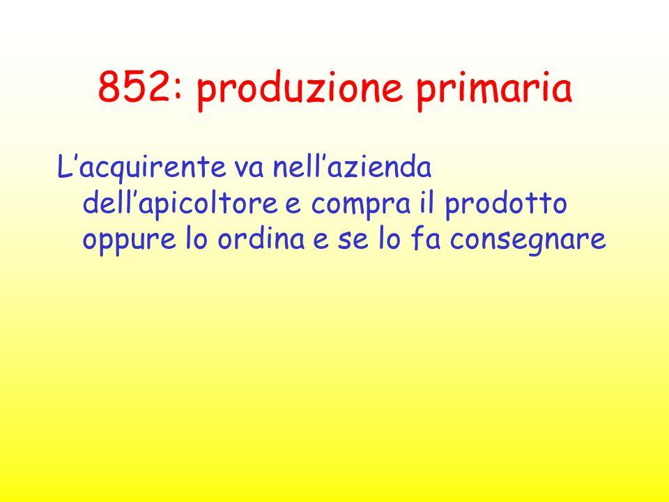 852: produzione primaria L'acquirente va nell'azienda dell'apicoltore e compra il prodotto oppure lo ordina e se lo fa consegnare.