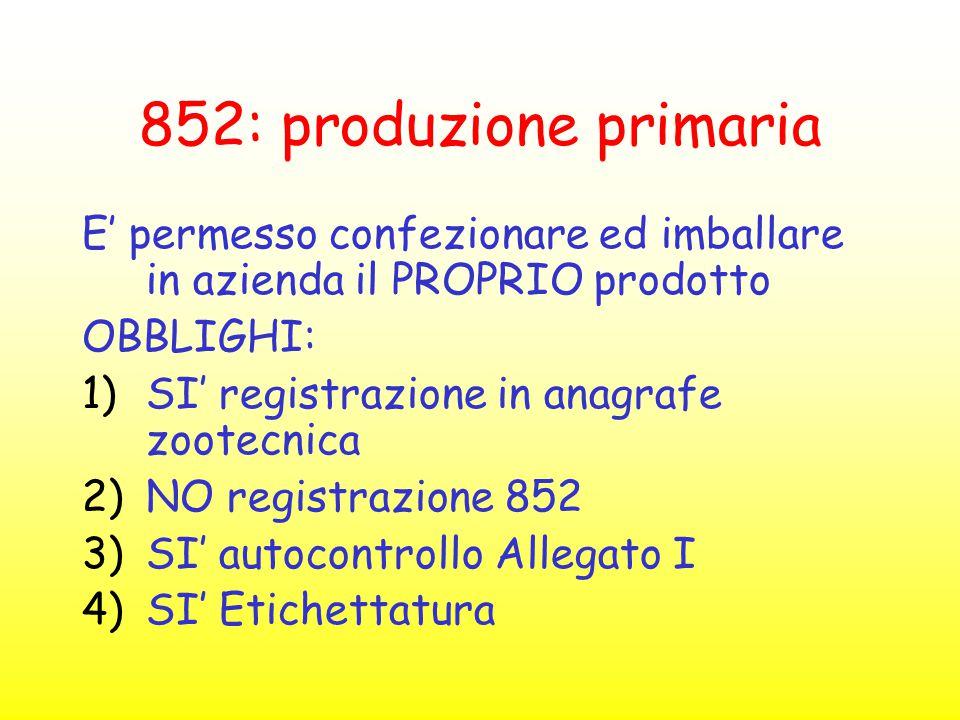 852: produzione primaria E' permesso confezionare ed imballare in azienda il PROPRIO prodotto. OBBLIGHI:
