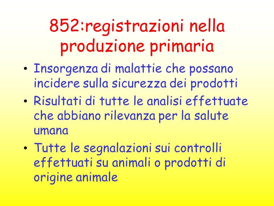 852:registrazioni nella produzione primaria