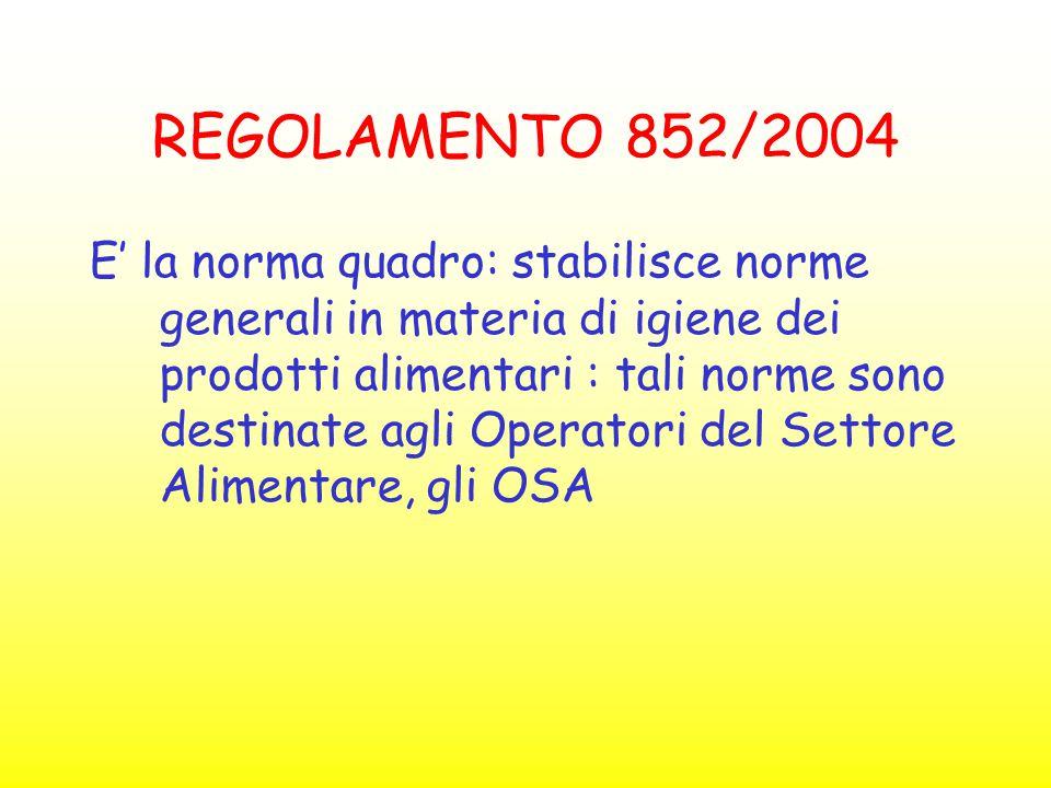 REGOLAMENTO 852/2004