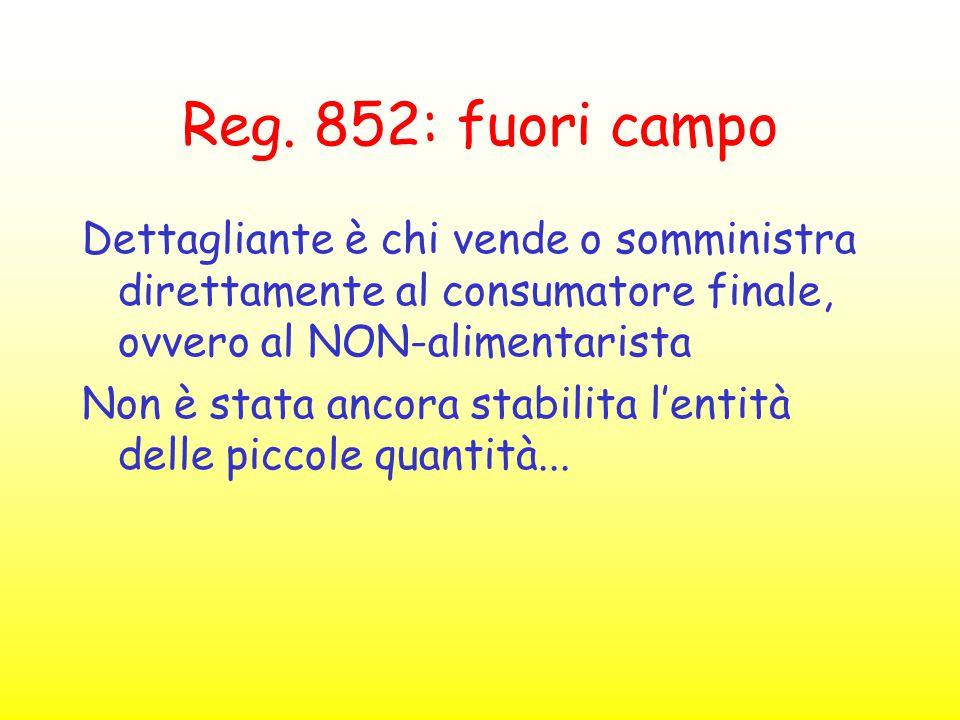 Reg. 852: fuori campo Dettagliante è chi vende o somministra direttamente al consumatore finale, ovvero al NON-alimentarista.