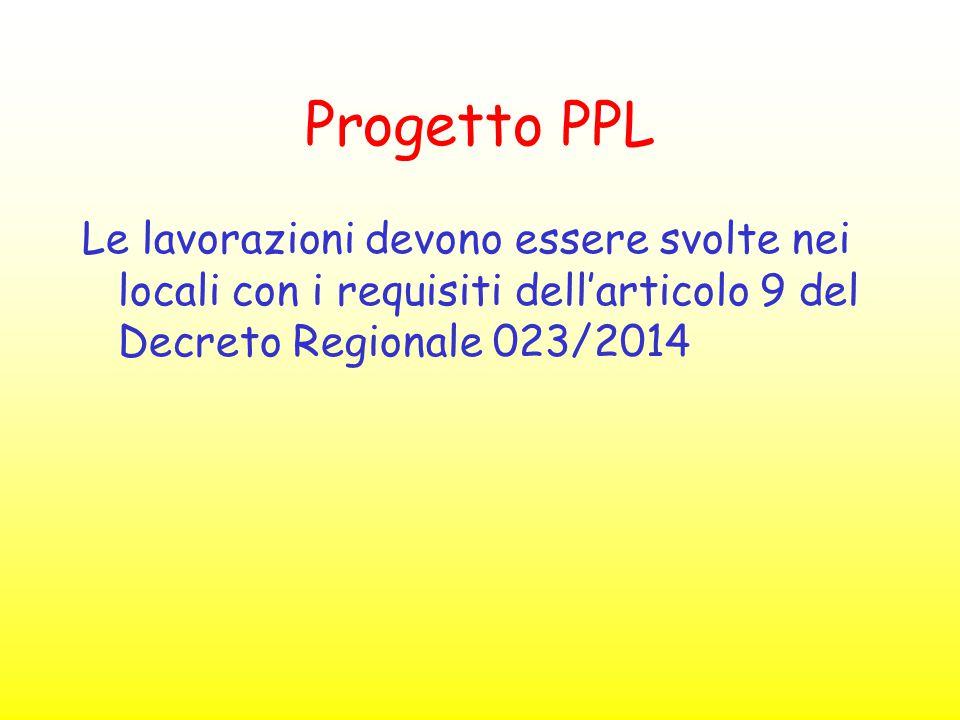Progetto PPL Le lavorazioni devono essere svolte nei locali con i requisiti dell'articolo 9 del Decreto Regionale 023/2014.