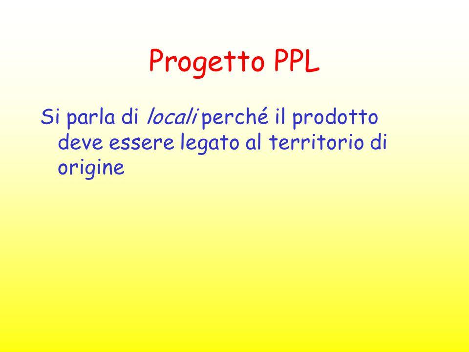 Progetto PPL Si parla di locali perché il prodotto deve essere legato al territorio di origine